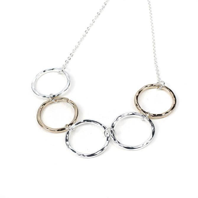 Peace of Mind Silver and Rose Gold Plated Beaten Circles Necklace