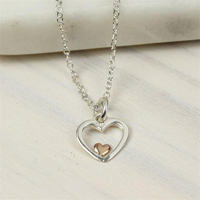 Peace of Mind Silver and Rose Gold Heart Necklace