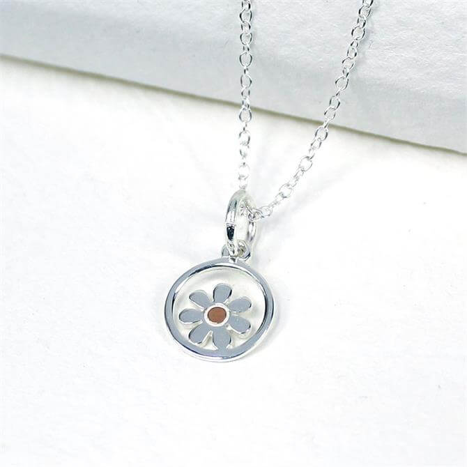 Peace of Mind Silver and Rose Gold Daisy Circle Necklace