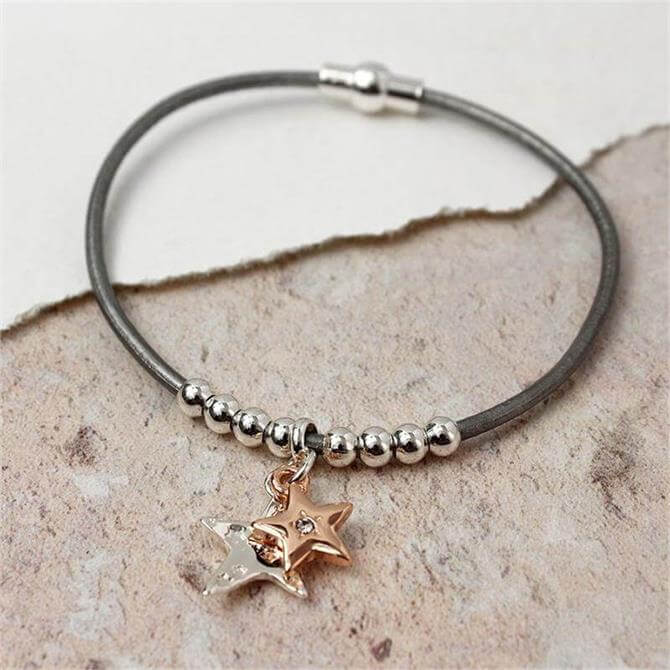 Peace of Mind Grey Leather Silver and Rose Gold Stars Bracelet