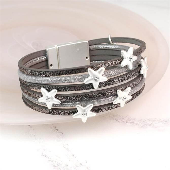 Peace of Mind Multi Strand Grey Leather Silver Stars Bracelet