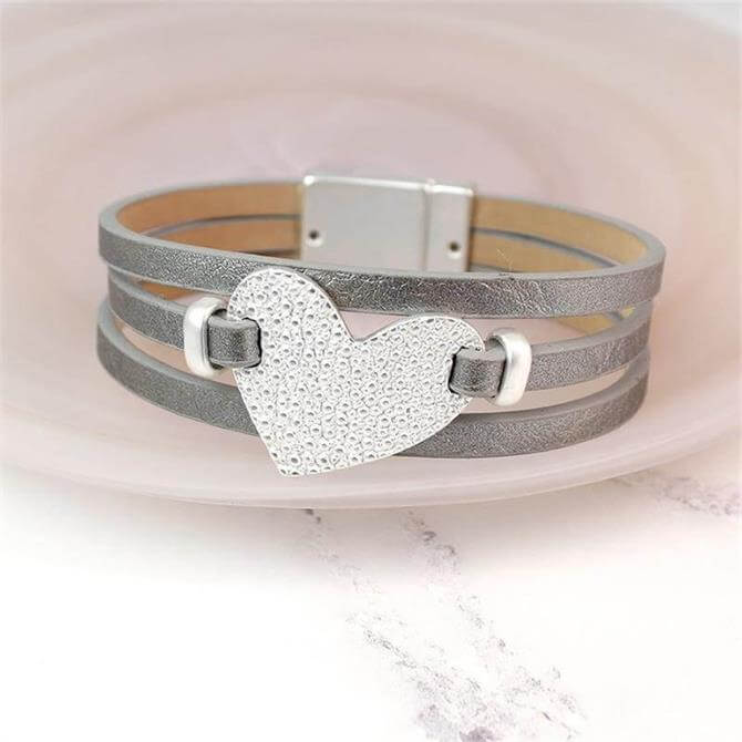 Peace of Mind Metallic Grey Textured Silver Heart Bracelet