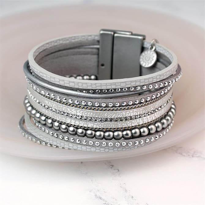 Peace of Mind Wild Silver Leather Strands Crystal Bracelet