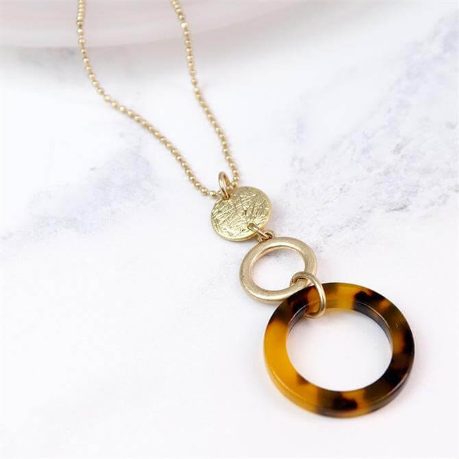 Peace of Mind Long Gold Plated Tortoise Shell Hoop Necklace