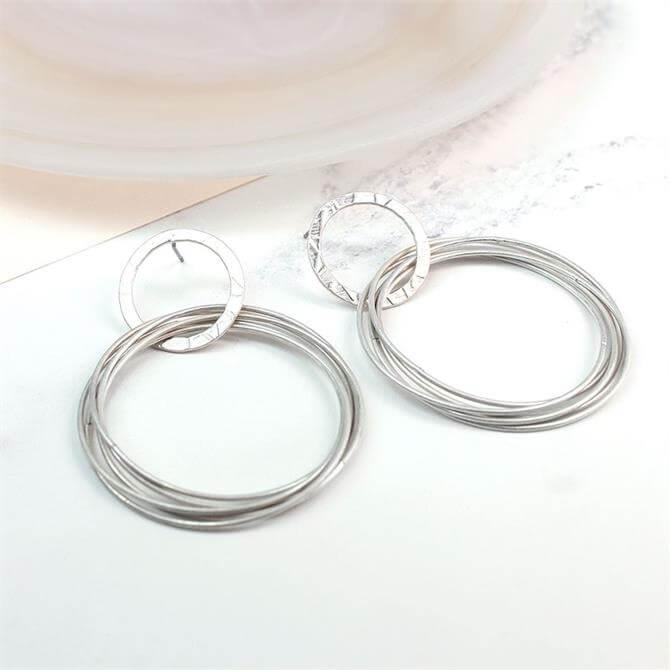 Peace of Mind Worn Silver Plated Linked Multi Hoop Earrings