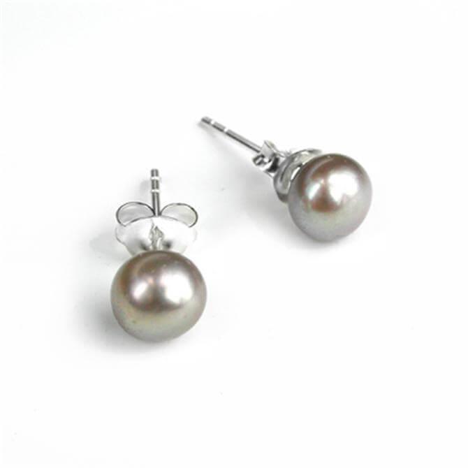 Peace of Mind Grey Freshwater Pearl Stud Earrings