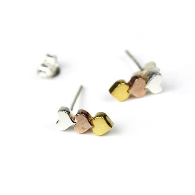 Peace of Mind Coloured Triple Heart Earrings