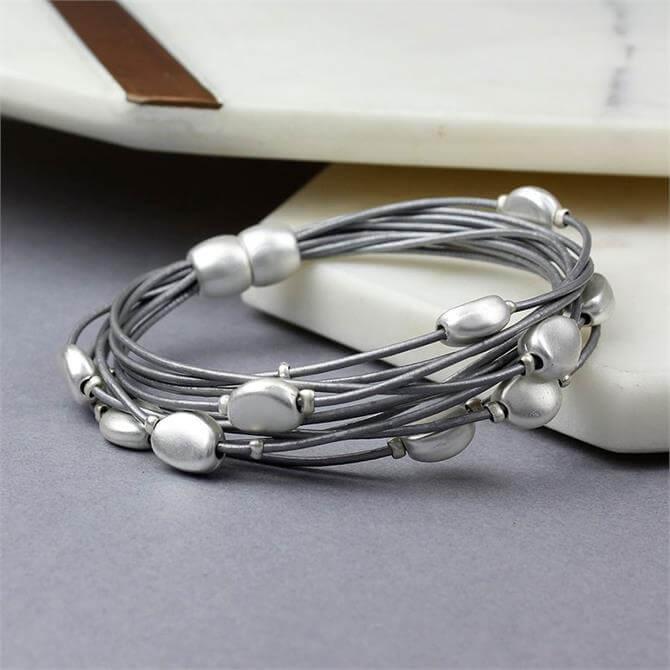 Peace of Mind Grey Leather Silver Pebbles Bracelet