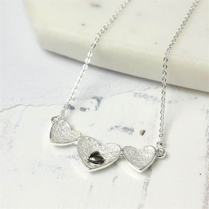 Peace of Mind Triple Scratched Heart Necklace with Oxidised Heart