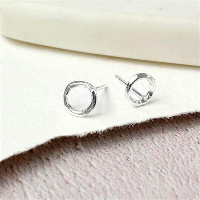 Peace of Mind Sterling Silver Hammered Circle Stud Earrings