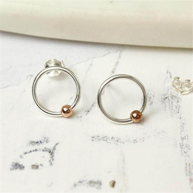 Peace of Mind Sterling Silver Hoop & Rose Gold Bead Earrings