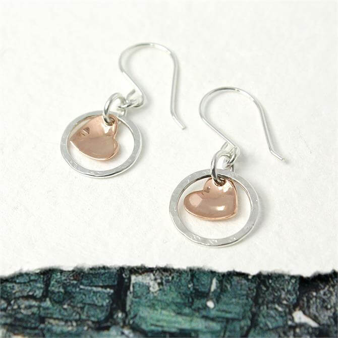 Peace of Mind Silver Hoop And Rose Gold Heart Earrings