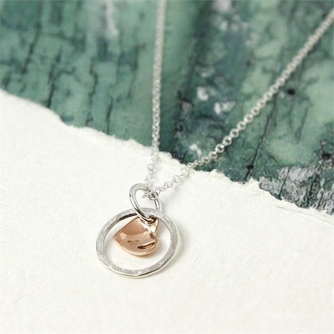 Peace of Mind Silver Hoop And Rose Gold Heart Necklace
