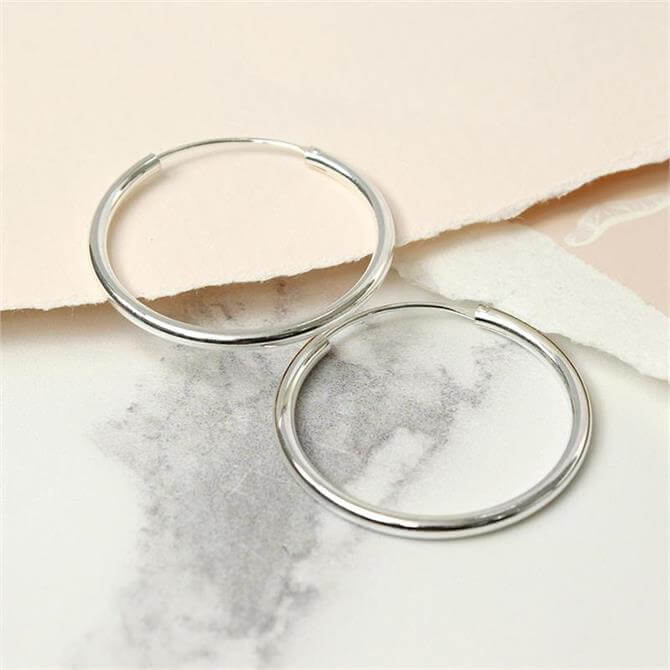 Peace of Mind Sterling Silver 30mm Hoop Earrings