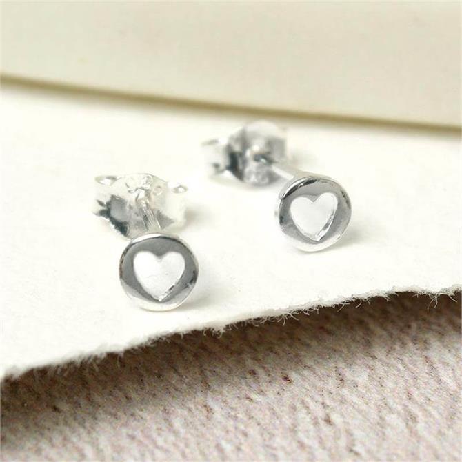 Peace of Mind Sterling Silver Cut Out Heart Stud Earrings