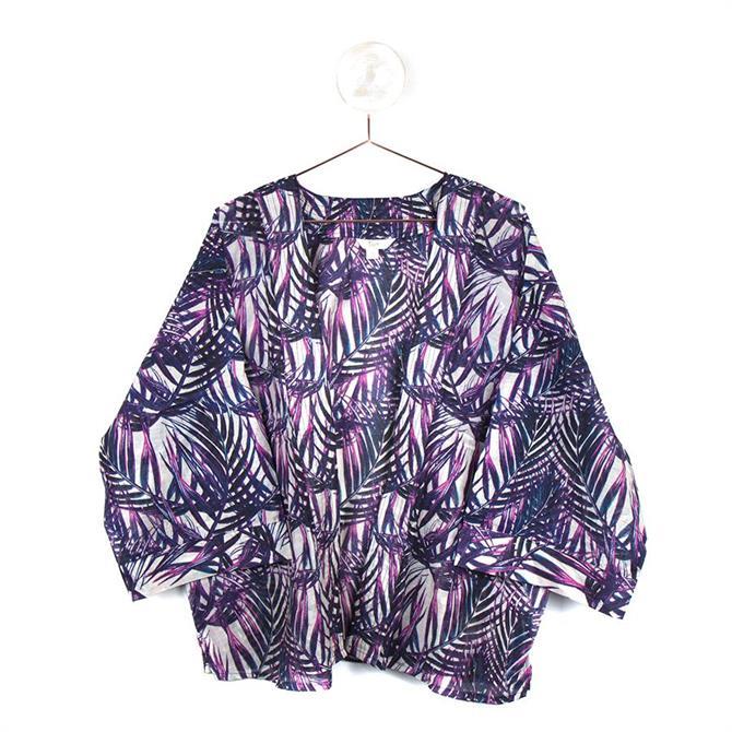 Peace of Mind Pink Mix Kimono with Leaf Print