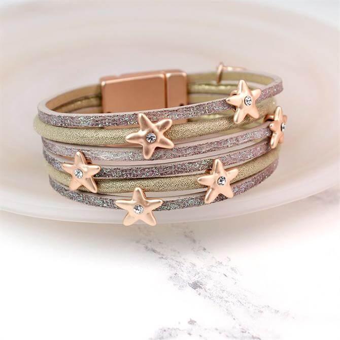 Peace of Mind Multi Stand Taupe Leather Rose Stars Bracelet