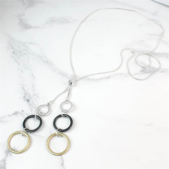 Peace of Mind Long Double Mixed Finish Hoops Necklace