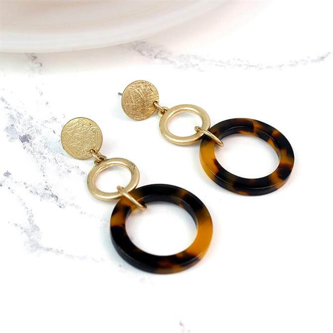 Peace of Mind Worn Gold Plated Tortoise Shell Hoop Earrings