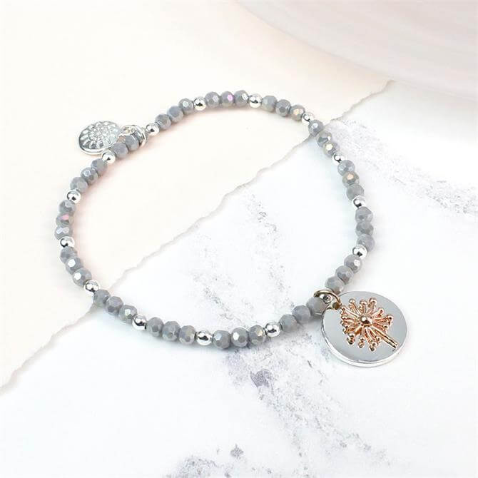 Peace of Mind Silver Plated Grey Bead and Rose Dandelion Bracelet