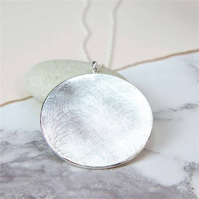Peace of Mind Silver Plated Large Scratched Disc Necklace