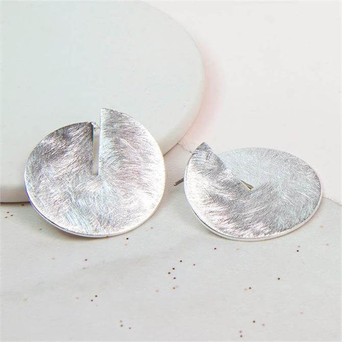 Peace of Mind Silver Plated Split Disc Scratched Earrings
