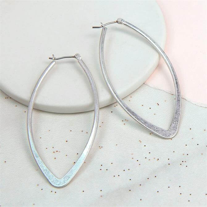 Peace of Mind Silver Plated Worn Marquise Earrings