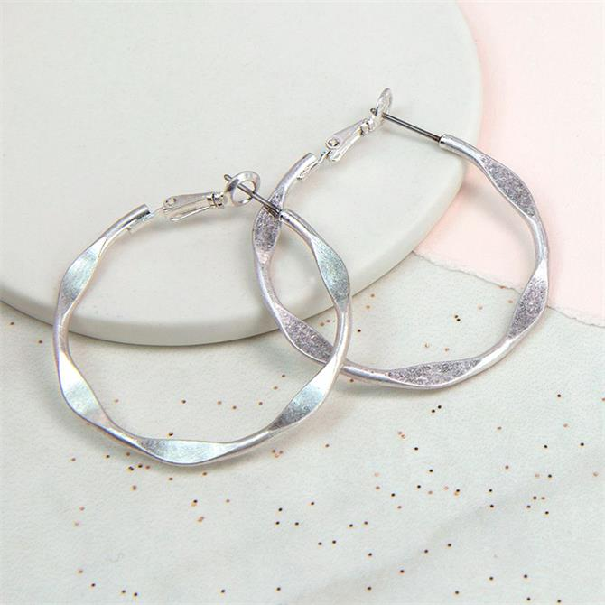 Peace of Mind Silver Plated and Textured Worn Hoop Earrings
