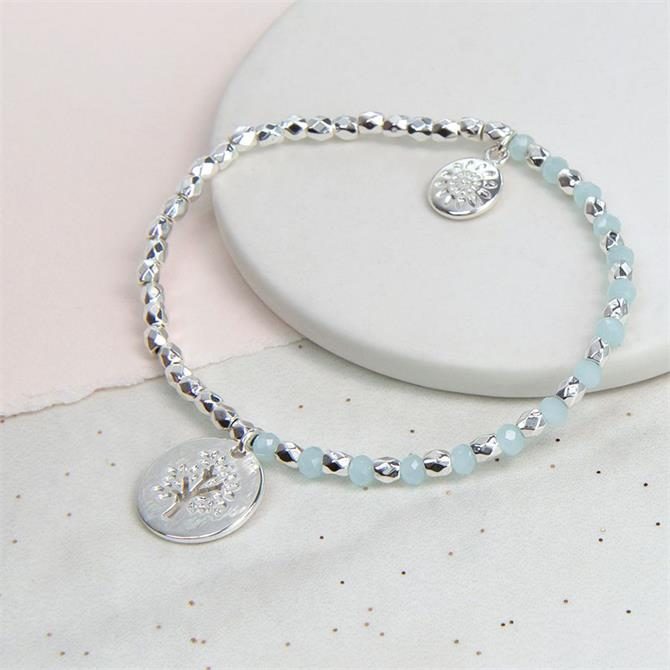 Peace of Mind Silver Plated Blue Bead Bracelet with Tree Charm