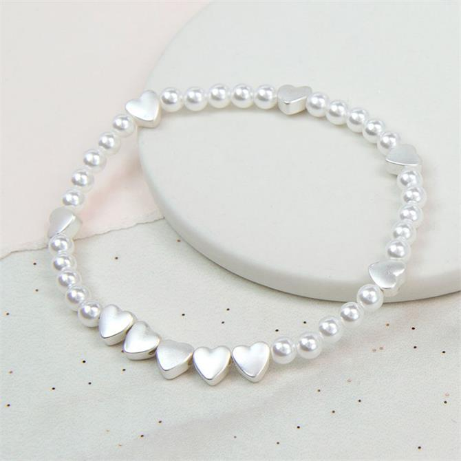 Peace of Mind Faux Pearl & Silver Plated Hearts Bracelet