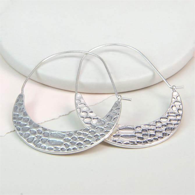 Peace of Mind Silver Plated Textured Drop Hoop Earrings