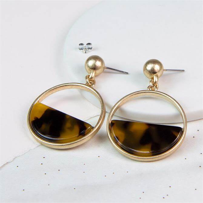 Peace of Mind Worn Gold Semi Circle Acrylic Disc Earrings