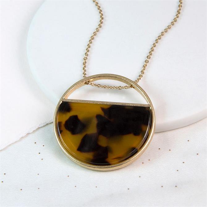 Peace of Mind Worn Gold Semi Circle Acrylic Necklace