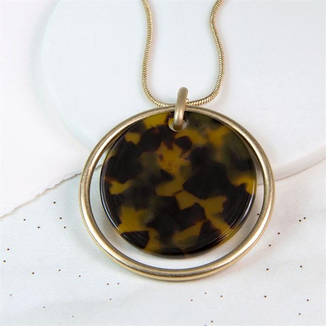 Peace of Mind Worn Gold Circle & Acrylic Disc Necklace