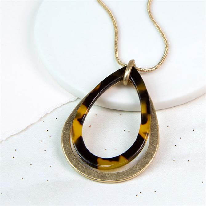 Peace of Mind Worn Gold & Acrylic Teardrop Necklace