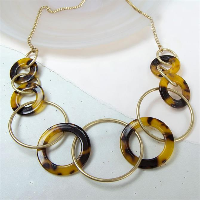 Peace of Mind Worn Gold and Acrylic Multi Hoop Necklace