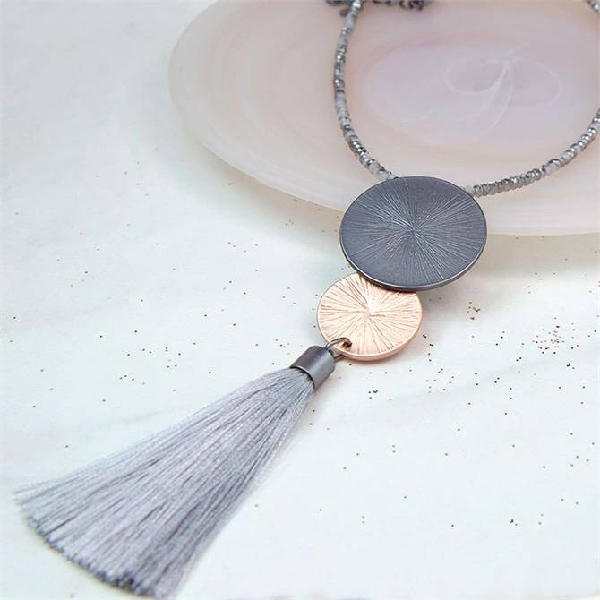 Peace of Mind Long Beaded Mixed Disc & Tassel Necklace