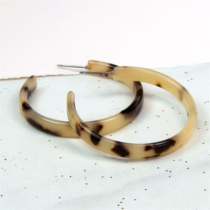 Peace of Mind Taupe Mix Acrylic Hoop Earrings