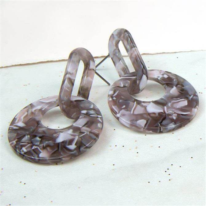 Peace of Mind Grey Mix Acrylic Linked Shape Earrings