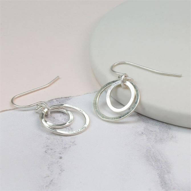 Peace of Mind Silver Plated Double Hoop Earrings