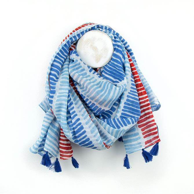 Peace of Mind White, Red & Blue Line Print Scarf