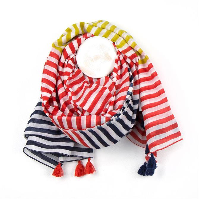 Peace of Mind Mustard, Red & Navy Stripe Cotton Scarf