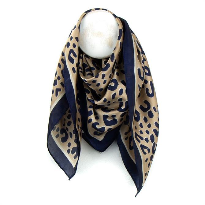 Peace of Mind Worn Silky Animal Print Square Scarf