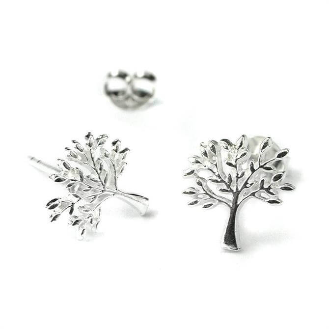 Peace of Mind Sterling Silver Tree Stud Earrings