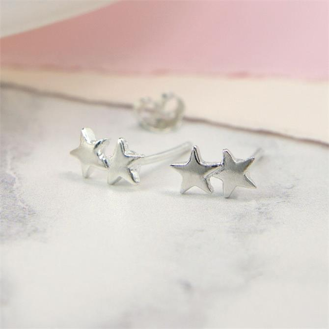 Peace of Mind Sterling Silver Double Star Earrings