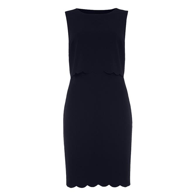 Phase Eight Navy Saffron Scallop Dress