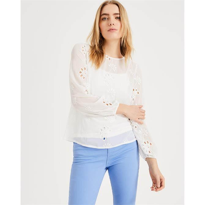 Phase Eight Darlene Chiffon Broidery White Blouse