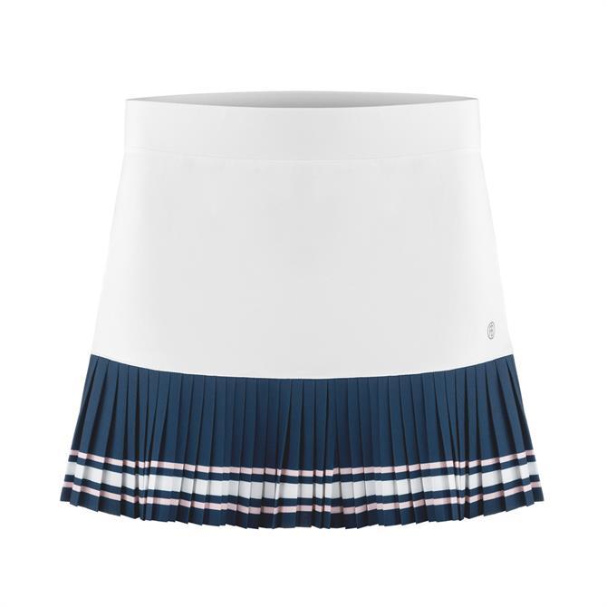 Poivre Blanc Women's Flared Tennis Skirt - White/Deep Sea Blue
