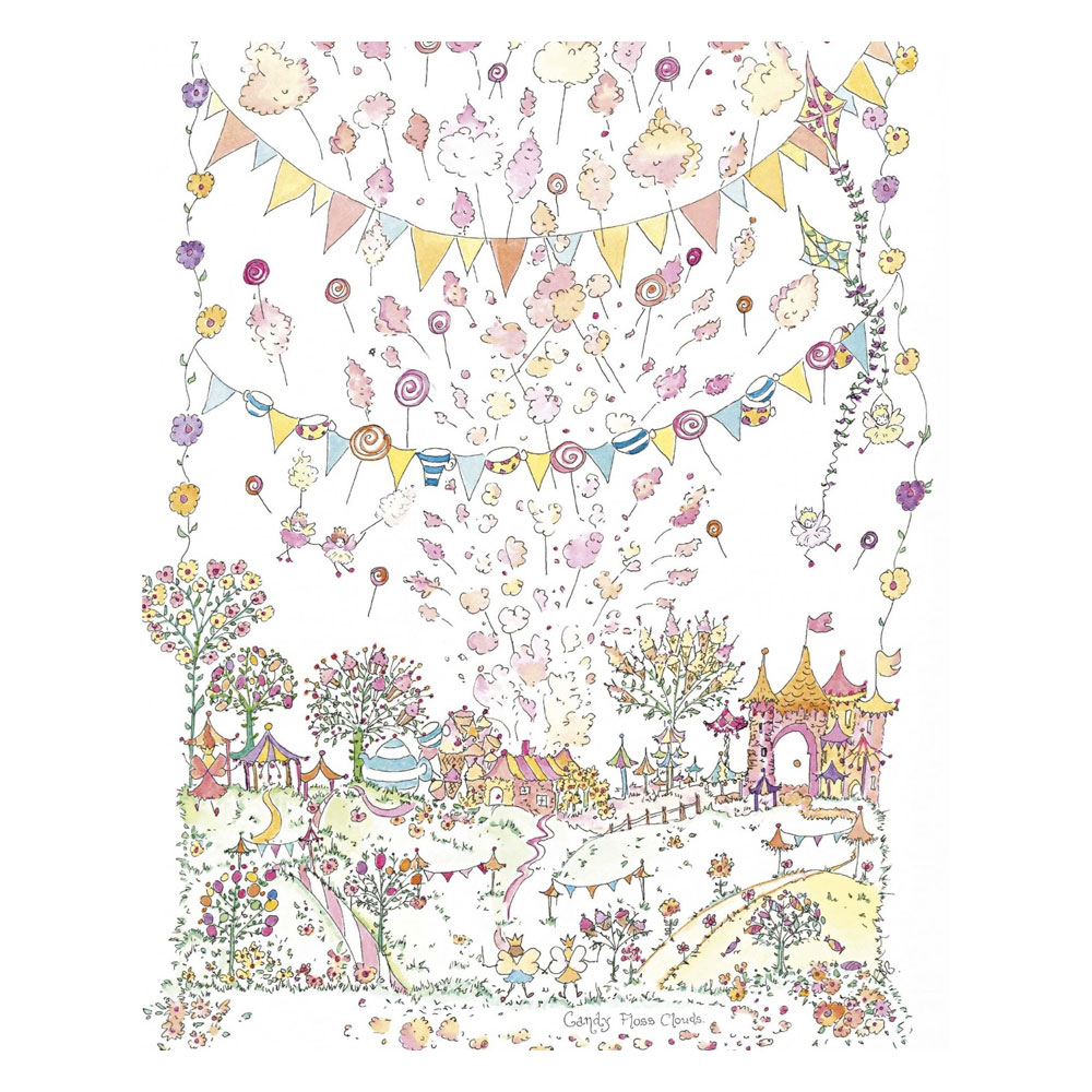 An image of The Porch Fairies Candy Floss Clouds Print