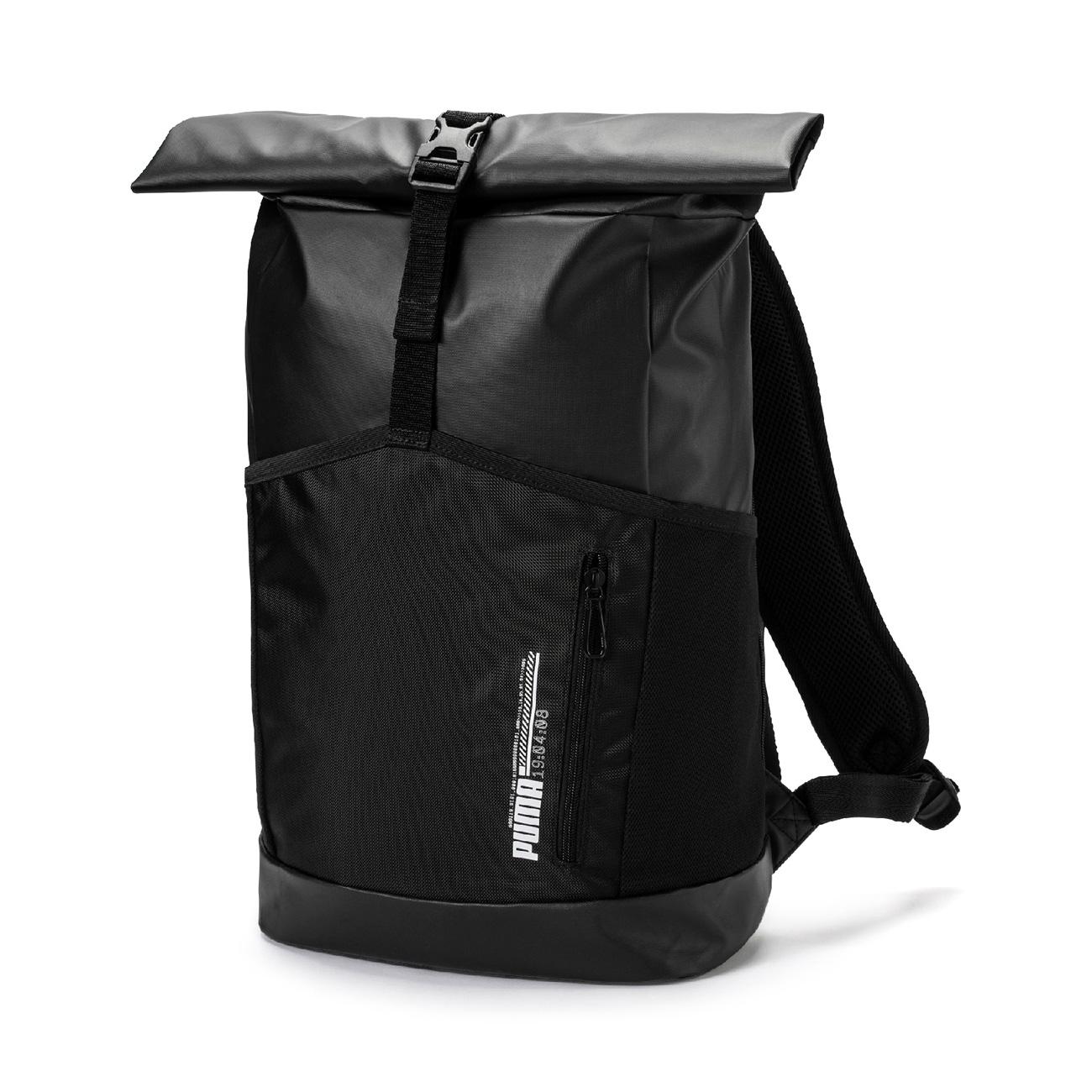 An image of Puma Energy Black Rolltop Backpack - OSFA, PUMA BLACK